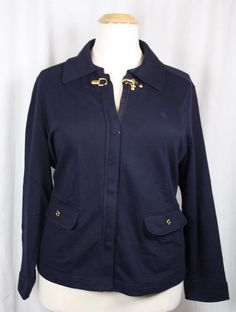 Ralph Lauren Womens Navy Blue Cotton Zip Snap Front Knit Toggle Jacket  3X #RalphLauren #BasicJacket #Versatile