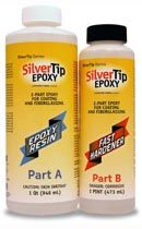 SilverTip Epoxy  SilverTip Epoxy is a medium-low viscosity, liquid epoxy resin system that has been optimized for coating and reinforcing fabric saturation in wood-composite boatbuilding. It will outperform any other product in these applications. SilverTip Epoxy is designed for use with fiberglass, Kevlar®, Dynel® and graphite as well as on bare wood. It has superior wet-out characteristics with little tendency to foam or trap air.