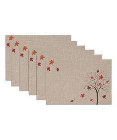 Look at this #zulilyfind! Fall Tree Embroidered Place Mat - Set of Six #zulilyfinds