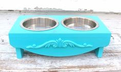 Marine Blue Elevated Dog Feeder Cat Bowl Holder Raised Feeding Station Seaside Beach Cottage French Country Decor. $60.00, via Etsy.