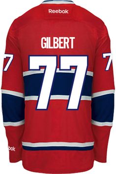 Montreal Canadiens Tom GILBERT #77 Official Home Reebok Premier Replica NHL Hockey Jersey (HAND SEWN CUSTOMIZATION)