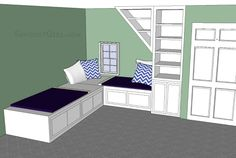 Double Daybed Design with trundle