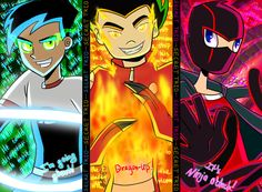Danny phantom, American dragon, and grade ninja ultimate butt kicking team:) theyre theme songs are in the backgrounds behind them so cool, sayings are on them. Cartoon As Anime, Cartoon Shows, Cartoon Art, Anime Art, Old Cartoons, Classic Cartoons, Ben 10, 2000 Kids Shows, Danny Phantom Funny
