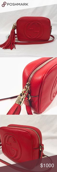 8ee44e73c8b 100% Authentic Red Gucci Leather Soho Disco Bag 100% Authentic Red Gucci  Leather Soho