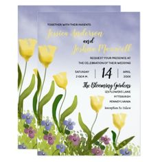 Boho Painterly Watercolor Tulips | Violets Wedding Card - invitations custom unique diy personalize occasions