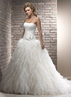 A-line Strapless Court Train Tulle Wedding Dress with Beading and Handmade Flower Starting at: $328.96