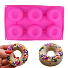 Delidge Premium Baking Pan for Donuts Silicone Bakery Mold Heat Resistance to Bake Circle Shaped Mini Cake Maker Pinch Test Passed (Pink/6-Cavity) >> See this awesome image @ : baking gadgets
