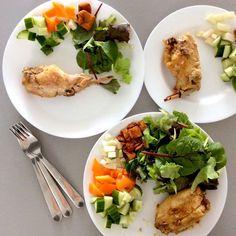 "Kateřina Gallinová on Instagram: ""Roasted rabbit with olive oil, asian baby lettuces, cucumber, kohlrabi, orange bell pepper, pork rinds / Králík pečený na olivovém oleji,…"""