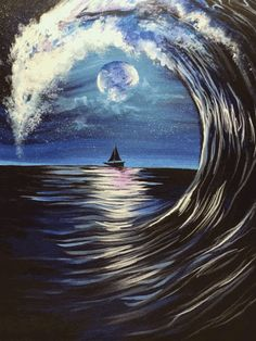 The waves are rolling and the moon light is shining in Moonlit Wave! - Galaxy Painting - Step By Step Acrylic Painting Tutorial Black Canvas Art, Black Canvas Paintings, Canvas Canvas, Paintings With Black Background, Dark Paintings, Black Painting, Winter Painting, Canvas Ideas, Acrylic Art