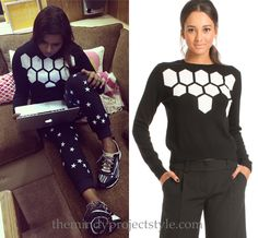 Mindy's too cute and comfy to take off outfit from filming The Mindy Project yesterday! Trina Turk Landon Sweater - $238 (get 25% off with code FRIENDS, also here and here) http://themindyprojectstyle.com/post/101161696017/mindys-too-cute-and-comfy-to-take-off-outfit-from Worn with Zoe Karssen...