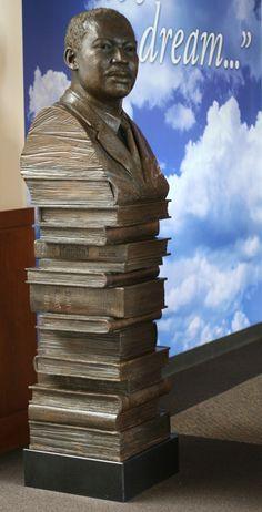 Martin Luther King Jr., Column of Knowledge. 1.5 times life size portrait. Fontana Public Library. Bronze Figurative sculpture by sculptor Steven Whyte, Carmel, California. Www.facebook.com/stevenwhytecarmel