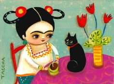 Little Frida and cat - Tascha Parkinson, Canada Diego Rivera, Illustrations, Illustration Art, Frida And Diego, Frida Art, Here Kitty Kitty, Art Plastique, Famous Artists, Crazy Cat Lady