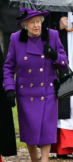 The 90-year-old Queen Elizabeth's purple coat brightened up a grey day as she attends the Sunday service at the church of St Mary the Virgin in Flitcham on January 15, 2017 near King's Lynn, England.