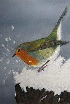 softpastel: roodborstje in de sneeuw