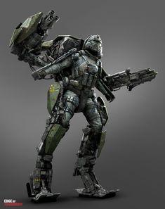 Edge of Tomorrow ExoSuit Concept Art by Jon McCoy Concept Art World, Robot Concept Art, Armor Concept, Robot Art, Sci Fi Armor, Sci Fi Weapons, Powered Exoskeleton, Science Fiction, Edge Of Tomorrow