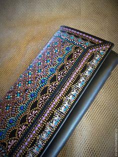 Купить Кошелек женский кожанный - черный, орнамент, кожанный кошелек,  кошелек женский, точечная роспись b6be2f89ea3