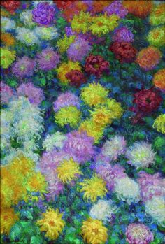 Chrysanthemums, 1897. Claude Monet (French, 1840-1926). Oil on canvas; 130 x 89 cm. Private collection. via Can we borrow your Monet? How the Cleveland Museum of Art built its fall blockbuster (photos) | cleveland.com