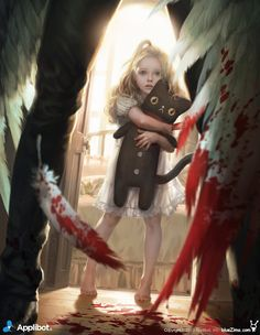 "I stagger to my feet, leaning against the brick wall for support. My bloodied wing tips brush the rough, dirty ground. I glance up and see a little girl. ""Hello."" I smile weakly, blood trickling from my mouth. ( Roleplay anyone? ^^)"