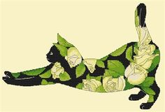 Counted Cross Stitch Black Cat with Yellow Roses by Myrea Pettit