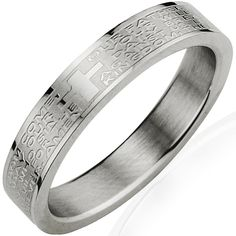 Stainless Steel English Lord's Prayer 4mm Band Ring - Women (Size 9)