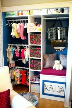 Nursery Room closet - Ikea bookshelf and tension rods perhaps? Nice use of space for those itty bitty clothes.