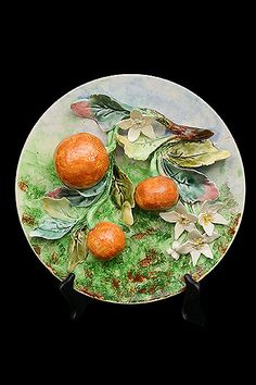 French Antique Majolica Longchamp Oranges Wallhanging Plate