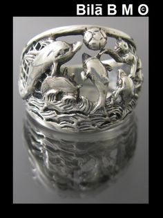 Vintage STERLING SILVER DOLPHIN RING Size 6 3 4 $75.00 via quadrina