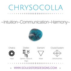 Metaphysical Healing Properties of Chrysocolla, including associated Chakra, Zodiac and Element, along with Crystal System/Lattice to assist you in setting up a Crystal Grid. Go to https://www.soulsistersdesigns.com/chrysocolla to learn more!