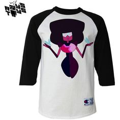Steven Universe Garnet Butterfiles White Black Baseball Tee ($25) ❤ liked on Polyvore featuring tops, t-shirts, unisex t shirts, baseball tee shirts, black and white top, white and black baseball tee and baseball style t shirts