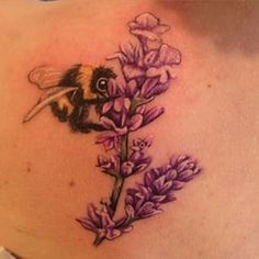 tattoo with flowers and bee - Google Search