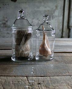 2 Vintage Large Glass Jars by therhubarbstudio on Etsy