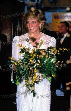 """July 16, 1986:  Princess Diana with a bouquet presented during a Gala Performance of """"Onegin"""" by the Royal Festival Ballet at the London Colliseum, St. Martins Lane.  Photo by Uppa-ipol-Globe Photos, Inc."""