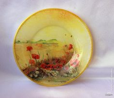 Decoupage Plates, Serving Bowls, Poppies, Decorative Plates, Tableware, Cities, Landscapes, Blog, Painted Plates