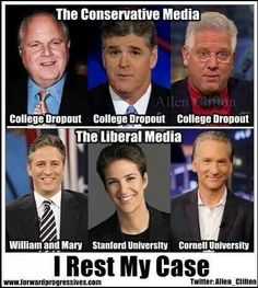 """With Rachel Maddow having a PhD and also being a Rhodes Scholar!  Here's some interesting facts for Chris deSalvo about the U.S. Media.  Interesting - these same republicans think educated, independent women are """"whores"""""""