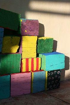Giant reclaimed lumber wooden blocks