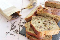 Banana bread: •450 gr de banane ou 3 grosses bananes bien mûres •2 oeufs •140 gr de farine T80 •60 gr de poudre d'amande •8 gr de levure chimique •50 gr de sucre complet (facultatif) •50 gr de pépites de chocolat