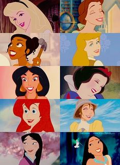Disney princesses, Aurora, Tiana, Jasmine, Ariel, Mulan, Belle, Cinderella, Snow White, Jane and Pocahantas