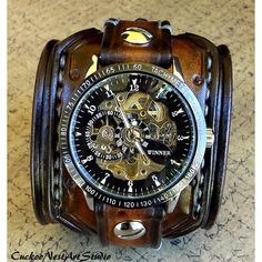 Steampunk Wrist Watch, Leather Watch, Skeleton watch, Leather Cuff... ($159) ❤ liked on Polyvore featuring jewelry, steampunk jewellery, leather cuff jewelry, leather jewelry, steam punk jewelry and steampunk jewelry