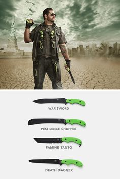 Zombie Apocalypse Knives by Ka-Bar. Because blades don't run out of ammo...