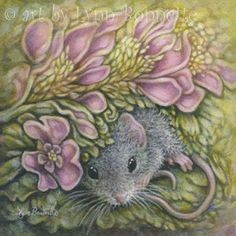 "Art by Lynn Bonnette: ""Pink Flora with Mouse"""