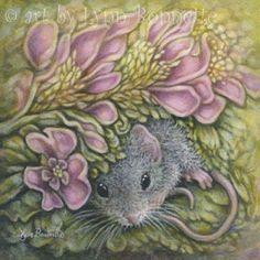 "Art by Lynn Bonnette: ""Pink Flora with Mouse"""