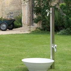 専用蛇口2個付きの水栓柱 アクアルージュW:ヘアライン シンプル・モダンな立水栓 | JUICY GARDEN