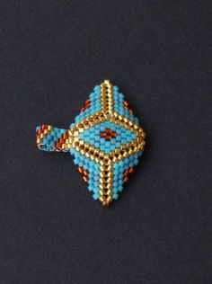 Egyptian Aztec Style Turquoise Blue Orange and by HeidiRathbone Peyote Patterns, Embroidery Patterns, Art Perle, Iron Beads, Native Beadwork, Beaded Jewelry Designs, Turquoise, Beaded Rings, Brick Stitch