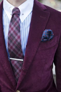 purple blazer + tie, tie bar, stripes, collar pin, pocket square