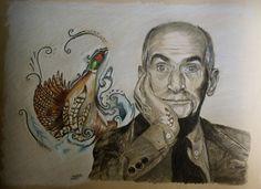 Louis de Funès, pencil, colour, pencil, drawing Paper: lana