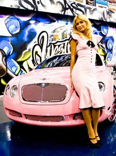 I don't like Paris Hilton but I could drive her pink Bentley made by West Coast Customs West Coast Customs, Hot Rides, Everything Pink, Paris Hilton, Present Day, Car Show, Art Cars, Cars And Motorcycles, Don't Care