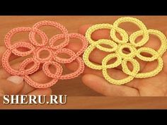 Crochet Falt Flower  Pattern Урок 100 Плоский цветок с навязкой                                                                                                                                                                                 Más