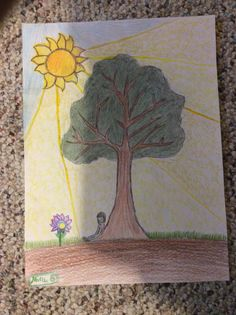 This is a drawing of a girl sitting under a tree. Also, I decided to do something different when I drew the sun's rays. I used colored pencils to draw this.