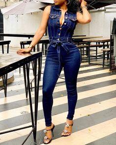IVRose | Women's Clothing, Jumpsuits, Jumpsuits $31.99 Casual Jumpsuit, Denim Jumpsuit, Printed Jumpsuit, Denim Overalls, Denim Playsuit, Trend Fashion, Fashion Outfits, Latest Fashion, Jeans Fashion