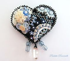 I ❤ crazy quilting & embroidery . . . black crazy quilted heart pin ~By beedeebabee